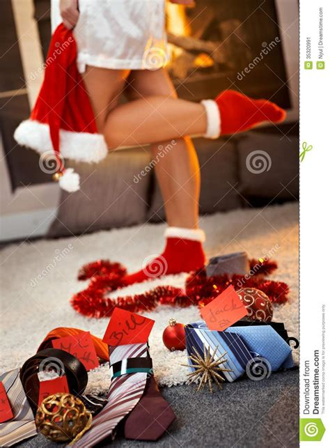 Christmas Gifts For Men By Pretty Girl Stock Image - Image