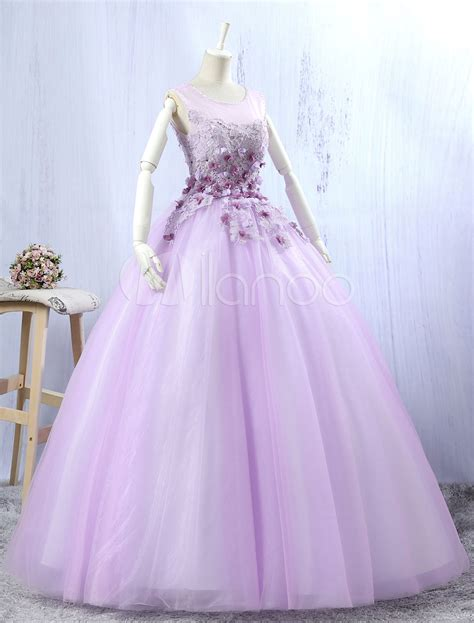 Lilac Quinceanera Dresses Tulle Ball Gown Lace 3D Flowers