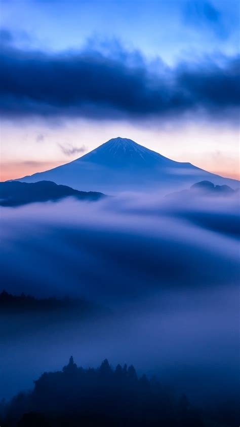 mountain-snow-sky-mist-blue-sunset-clouds-iPhone-Wallpaper