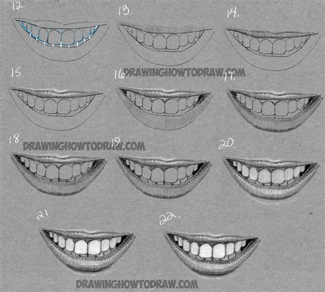 How to Draw a Mouth Full of Teeth : Drawing a Smiling